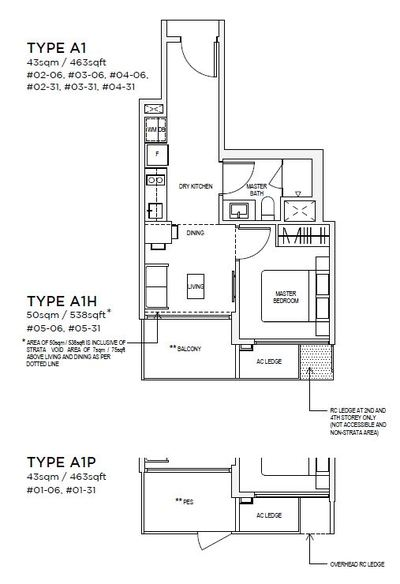 1 bedroom Type A1 Floorplan