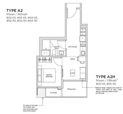 1 bedroom Type A2 Floorplan