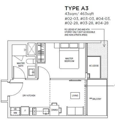 1 bedroom Type A3 Floorplan