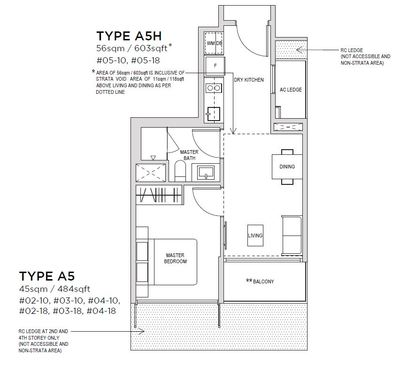 1 bedroom Type A5 Floorplan