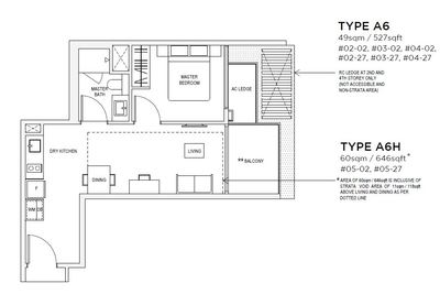 1 bedroom Type A6 Floorplan