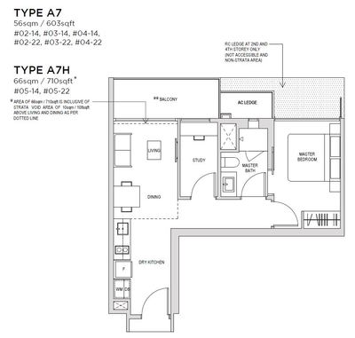 1 bedroom Type A7 Floorplan