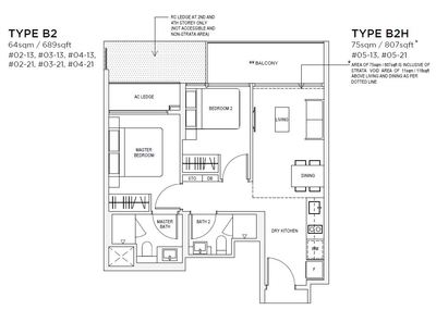 2 bedroom Type B2 Floorplan