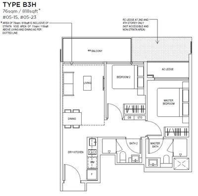 2 bedroom Type B3 Floorplan