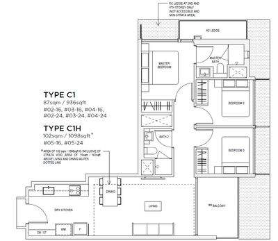 3 bedroom Type C1 Floorplan