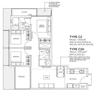 3 bedroom Type C2 Floorplan
