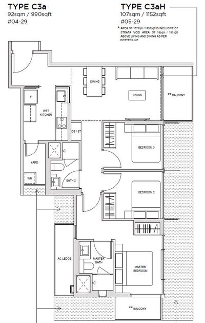 3 bedroom Type C3A Floorplan