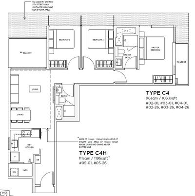 3 bedroom Type C4 Floorplan
