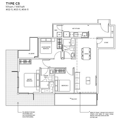 3 bedroom Type C5 Floorplan