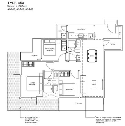 3 bedroom Type C5A Floorplan