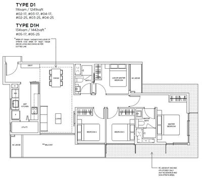 4 bedroom Type D1 Floorplan