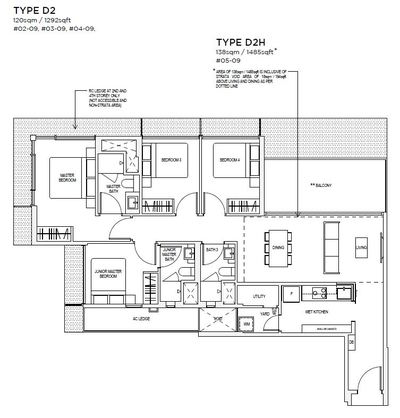 4 bedroom Type D2 Floorplan