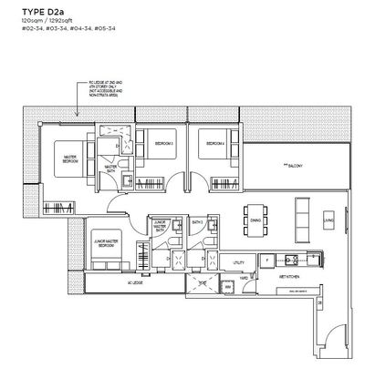 4 bedroom Type D2A Floorplan